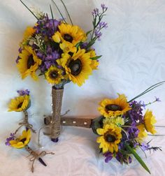 Sunflower wedding Country wedding 4 piece Sunflower Bouquet set twine wrap shabby chic bouquet. $107.00, via Etsy.