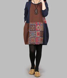 Cotton Knee length babydoll dress Bottoming long shirt