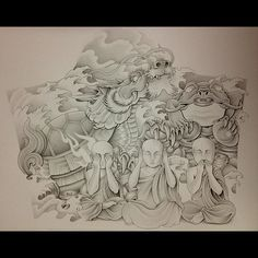 #turtledragon #coinfrog #coins #seenoevil #hearnoevil #speaknoevil #monks #waves #clouds #flames #japanese #tattoo #design