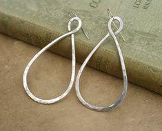 new in the shop! - Sterling Silver Big Teardrop Hoop Earrings by nicholasandfelice