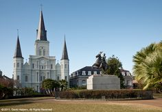 Jackson Square with a beautiful view of the cathedral
