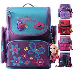 39.72$  Buy here  - Delune Design Cute Bear Butterfly Children School Bags Orthopedic Backpack School Portfolio Mochila Infantil Schoolbag for Girls