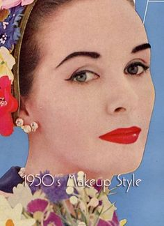 1950s makeup:  full red lips and heavy arched eyebrows