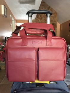 New chianti red TaboLap leather laptop bag