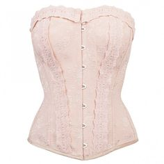 $49 Pinky Beige Vintage Straight Line Overbust with Lace Channels