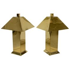 A Pai of Curtis Jere Brass Lamps