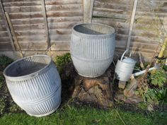 Vintage Original Traditional Large Galvanised Dolly Tub in very good condition. 1 of 2 in stock Superb Large Garden Planter Ornament by VintageFoggy on Etsy