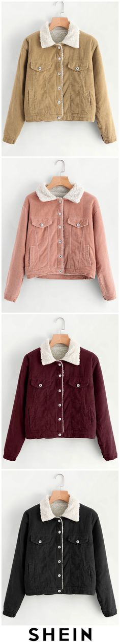 Corduroy Contrast Faux Shearling Jacket