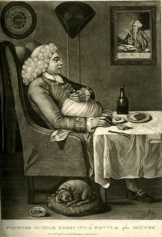 SR. EPICURE GUZZLE ENJOYING his BOTTLE after DINNER, 1773. A very stout man sitting at table, contemplating the bottle of port with the cork in his left hand, resting on his stomach, the glass in his other hand; a bill labelled 'Turtle 10 / Venison 10 / Custard 5 ...', bread and a slice of other food on the table; a sleeping pug dog... tricorn, clock showing 3.15 and a picture of R.E. Pine's portrait of Wilkes... After: Pierre Louis Dumesnil le jeune (?) Published by: William Humphrey.