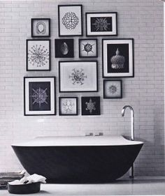 Elle decoration, black and white interiors, monochrome, bathroom