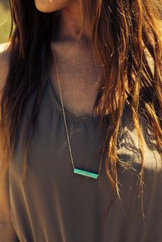 Precious Minerals Long Necklace, Turquoise