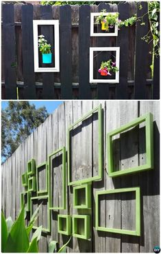 Hang Picture Frame to Decorate Backyard Fence Decoration Makeover DIY Ideas DIYHowto - Modern Design Garden Fence Art, Diy Fence, Glass Garden, Fence Ideas, Garden Ideas, Backyard Ideas, Desert Landscaping Backyard, Backyard Fences, Semarang