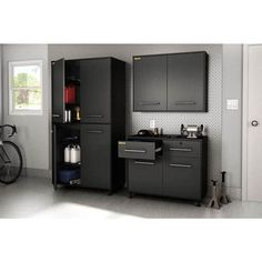 These Karbon Wall Storage Cabinets in Pure Black and Charcoal finish, are part of South Shore Furniture's Practik line - especially designed for the garage or basement organization Garage Storage Cabinets, Locker Storage, Garage Organization, Organized Garage, Garage Shelving, Storage Drawers, Organization Ideas, Garage Storage Solutions, Storage Systems