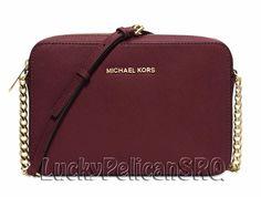 Michael Kors Jet Set Travel Large Crossbody Messenger Bag Merlot Red NWT #MichaelKors #MessengerCrossBody