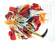 Henrik Zetterman Detroit Red Wings - original painting by Mark Penxa National Sports Day, Hockey Decor, Sports Painting, National Hockey League, Detroit Red Wings, Inspiration Wall, Sports Art, Online Art, Graffiti