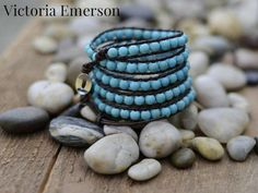 Leather Wrap Bracelet: Victoria Emerson | I could totally make this . . .