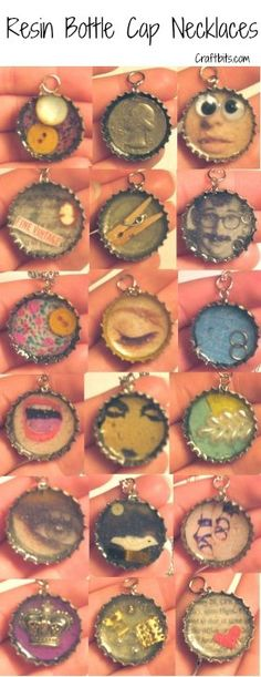 Resin Bottle Cap Necklace — craftbits.com. We made these one summer using pictures, beads, sequins, etc.