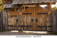 Find wood gate stock images in HD and millions of other royalty-free stock photos, illustrations and vectors in the Shutterstock collection. Thousands of new, high-quality pictures added every day. Wooden Gates, Wooden Doors, Gate Images, Garden Gates And Fencing, Brick Arch, Diy Fence, Dream House Exterior, Rustic Wood, Stock Photos