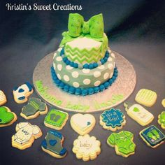 Baby shower chevron cake and cookies