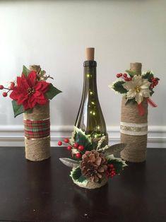 Wine Bottle Crafts – Make the Best Use of Your Wine Bottles – Drinks Paradise Wine Bottle Centerpieces, Christmas Centerpieces, Christmas Decorations, Christmas Flowers, Wine Bottle Decorations, Christmas Poinsettia, Table Centerpieces, Holiday Decor, Glass Bottle Crafts