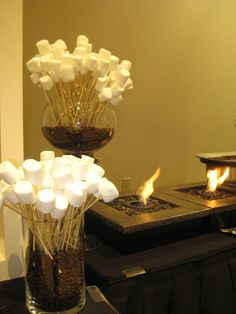 'Smores Bar! Note the marshmellows already on the sticks!