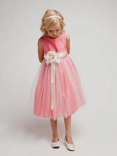 5df1bb5fb Sweet Kids Little Girls Coral Ivory Floral Accent Flower Girl Dress - deal  sign