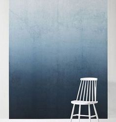 "Ombre wall paint inspiration, on trend for 2016. Love the transition of dark to light blue here, especially how well it contrasts with white furniture. Blue and white work very well together and here's a way of introducing blue without giving screaming ""beach house""."