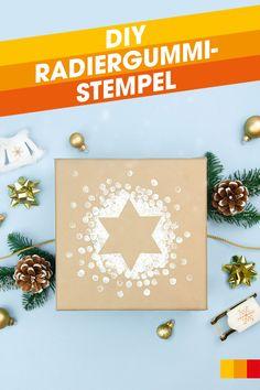 Buntes Geschenkpapier und aufwendige Schleifen sind einfach nicht euer Ding? Macht nichts! Wir zeigen euch wie ihr euren Weihnachtspackerln trotzdem einen kreativen Touch verleihen könnt, ohne viel Tamtam! Mit einer hübschen Schablone, etwas Acrylfarbe und einem Bleistift mit Radiergummi könnt ihr eure Packerl ganz einfach aufpeppen! #libroat #DIY #weihnachten #geschenkeverpacken #giftwrapping #creative #giftwrappingideas Wrapping Ideas, Diy Weihnachten, Advent, Frame, Home Decor, Eraser Stamp, Ribbons, Present Wrapping, Pencil