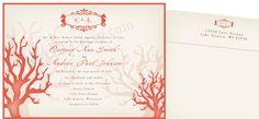 Custom Coral Wedding Invitation Coral Invitation by event123, $1.50
