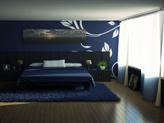 White Decal On Dark Blue Walls. My Bedroom Is Some Sort Of Blue, I