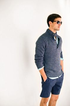 "Sweaters with shorts is kind of growing on me (emphasis on ""kind of"") if they're this style in the same color scheme."