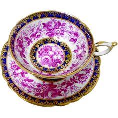 Paragon Purple Rose daisy Cobalt tea cup and saucer