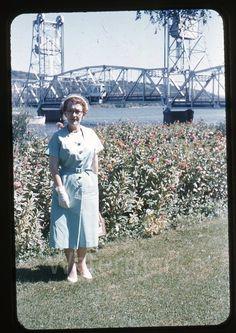 1950s red border Kodachrome Photo slide Lady by bridge Minneapolis MN   eBay