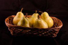 wicker basket of pears