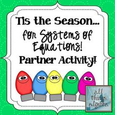 Systems of Equations Holiday Partner Activity