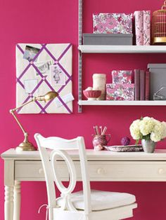 I will have a pink wall one day...!    An office doesn't have to have light colored walls but if you select a dark tone, keep your furniture white or at least a light color and make sure you have good desk and room lighting.