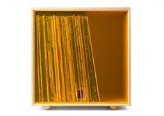 Stackable Storage Cube Orange LP Vinyl Record by SimpleWoodGoods