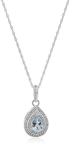 """10k White Gold Pear Aquamarine and Round Created White Sapphire Pendant Necklace, 18"""" Amazon Curated Collection http://www.amazon.com/dp/B00RJNEYGC/ref=cm_sw_r_pi_dp_fFgcvb0T93TN3"""