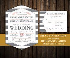 Elegant wedding invitations with RSVP Hexagon shaped Die Cut