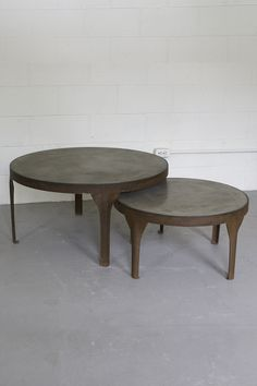 LARGE ROUND CONCRETE COFFEE TABLES WITH RUSTIC METAL FRAME AND LEGS