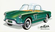 "1960 Nu-Klea Starlite Electric Runabout, by Nu-Klea Automobile Corp. of Lansing, Michigan. Powered by a ""36 volts battery"", with ""built-in charger"". Body: All Plastic, with optional fiberglass cloth or Plexiglass Top."