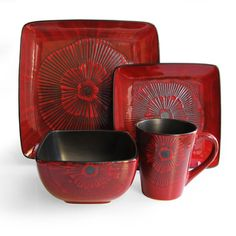 @Overstock - American Atelier Laurette Red Square 16-piece Dinnerware Set - A rich hue of deep red and a textured, floral imprint makes this 16-piece dinnerware set a beautiful addition to any dining table. Made from durable earthenware, this bold, festive set serves four and is dishwasher and microwave safe.  http://www.overstock.com/Home-Garden/American-Atelier-Laurette-Red-Square-16-piece-Dinnerware-Set/7277901/product.html?CID=214117 $62.99