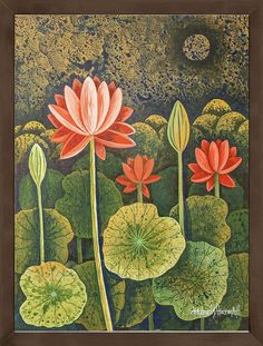 Chandru Hiremath's paintings available as Limited Edition HD Print on Canvas. This Indian artwork Untitled with SKU is available exclusively at ArtCollective. This painting is in the collection FLORA Lotus Painting, Buddha Painting, Autumn Painting, Artist Painting, Pichwai Paintings, Indian Art Paintings, Indian Artwork, Indian Folk Art, Mughal Miniature Paintings