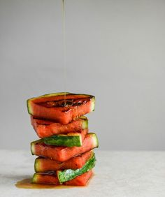 #Recipe: Honey Grilled #Watermelon Caprese Salads