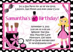 5th birthday party invitation wording party ideas for kids spa party birthday invitations glamour girl beauty day polka dots or solid background options customizable printable stopboris Image collections