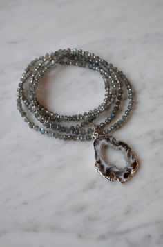 Silver Bezeled Agate Druzy Slab Pendant on Faceted Labradorite with Silver Beads, Long Necklace