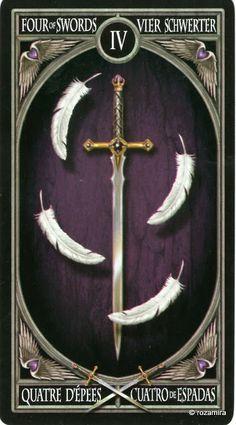 4 d'épées - Tarot gothique par Anne Stokes