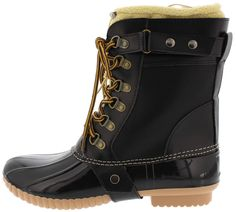 MURIEL7 BLACK LACE UP FLEECE LINED RUBBER DUCK BOOT ONLY $16.88