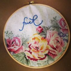"Quaint ""Fuck"" Embroidery on Hoop cushion covers"