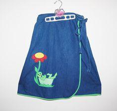 Vintage Skirt Denim with Flower Swing by CheekyVintageCloset, $22.00